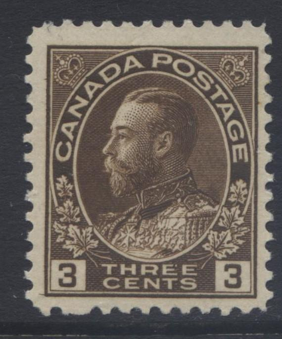 Canada - Scott 108 - KGV Definitive - 1911 - MH - Single 3c Stamp