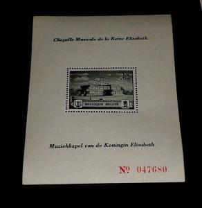 BELGIUM #317, 1941, QUEEN ELIZABETH, MUSIC, SOUVENIR SHEET, MNH, NICE! LQQK