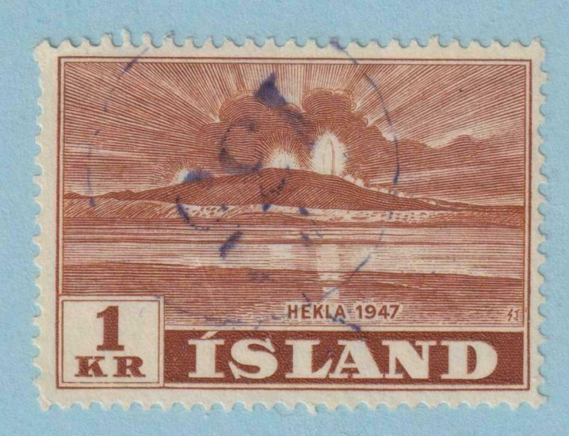 ICELAND - NUMERAL CANCELLATION 135 ON 1 KR HEKLA VOLCANO  - NO FAULTS VERY FINE!
