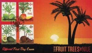 Niue 2018 FDC Fruit Trees Mango Coconut Avocado Tree 4v Set Cover Fruits Stamps