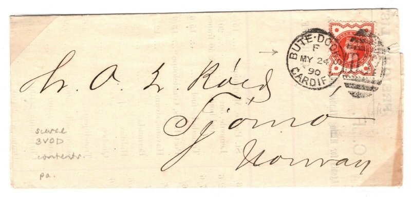 GB WALES Cover *BUTE DOCKS D57* Scarce 3VOD DUPLEX Freight List 1890 ZA163