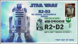 21-108, 2021,Star Wars Droids, R2-D2, First Day Cover, Digital Color Postmark,