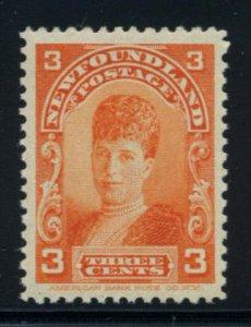 NEWFOUNDLAND: Sc.#83  **  3¢ Orange, STUNNING CHOICE Never Hinged example, S...