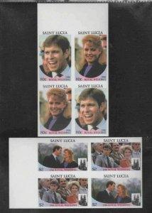 ST. LUCIA #839-840 1986 WEDDING PRINCE ANDREW MINT VF NH O.G BLOCK 4 IMP. bb
