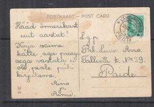 ESTONIA, 1936 ppc. Easter, 5s. VAIKE-MAARJA, TPO to Paide.