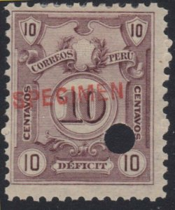 PERU 1909 Postage due SPECIMEN opt in red + security punch hole ............7977