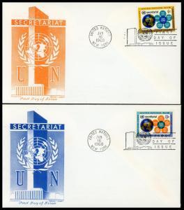 UN FDC #181-182 United Nations Secretariat - Cachet Craft - Chickering Cachet