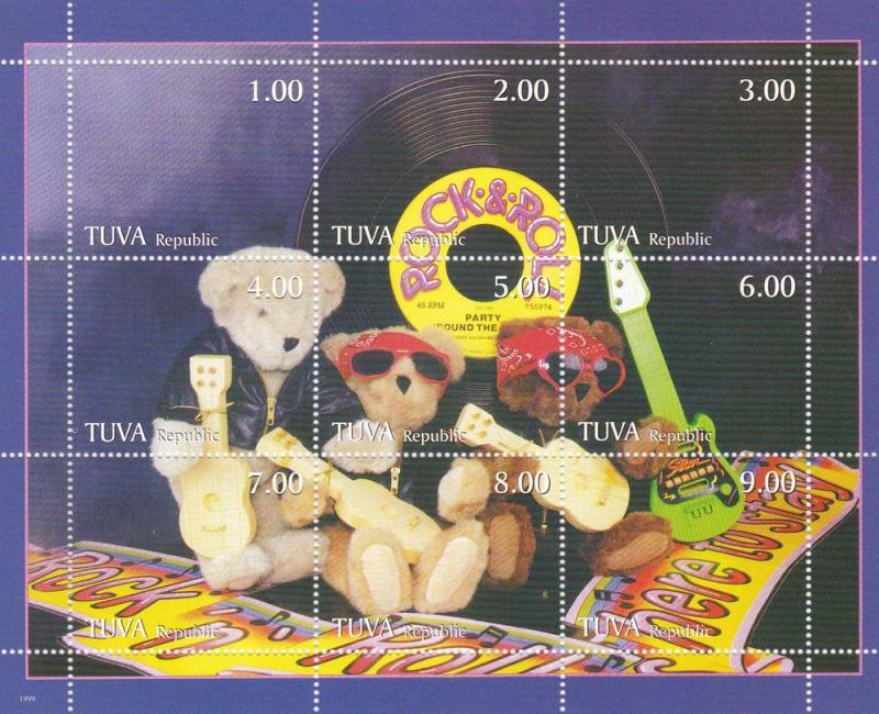 Tuva MNH S/S Rock & Roll Teddy Bears