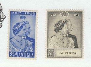 ANTIGUA  # 98-99 VF-MNH 1948 KING GEORGE VI SILVER WEDDING CAT VALUE $15