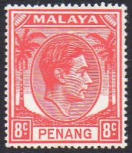 Penang 1949 8c scarlet MH