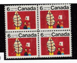 CANADA # 525ii VF-MNH CRACK IN WINDOW CHRISTMAS CENTER BLOCK OF 4 CAT VALUE $45+