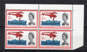 21/2d LIFEBOAT (NON-PHOSPHOR) MOUNTED MINT BLOCK + PRINTING VARIETY