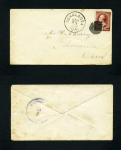 Cover from Oskaloosa, Iowa to Senecaville, Ohio dated 1-29-1881