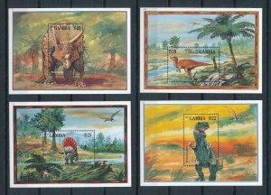 [107199] Gambia 1995 Prehistoric animals dinosaurs Triceratops 4 Sheets MNH