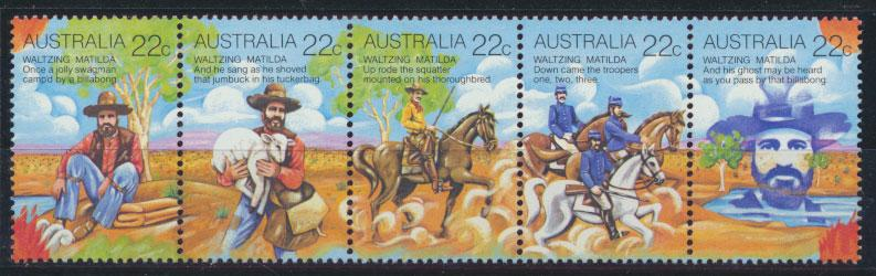 Australia  SG 742a  SC# 741 Strip of 5  MNH - Folklore Waltzing Matilda