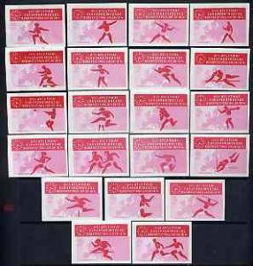 Match Box Labels - complete set of 21 Athletics (red &...