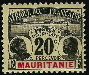 French Mauritania (Scott J4) Mint OG F-VF hr..French Colonies are hot!