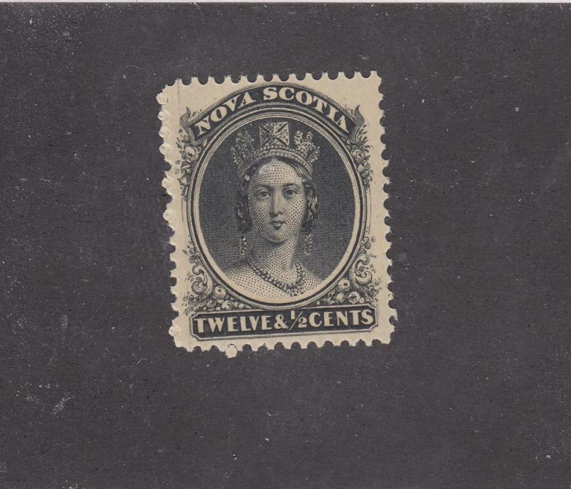 NOVA SCOTIA REF# KM22 # 13 VF-MLH 12 1/2cts QUEEN VICTORIA BLACK CAT VALUE $60