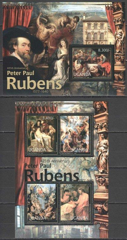 UG048 2012 UGANDA PETER PAUL RUBENS ART PAINTINGS #2839-2+BL383 MNH