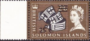 BRITISH SOLOMON IS 1966 QEII 25c on 2/6 Black, Olive-Brown & Light-Brown with...