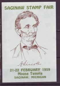 J18897 cinderella 1959 mnh abe lincoln saginaw stamp fair moose temple michigan