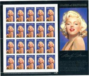 US Scott #2967 Marilyn Monroe Sheet MNH. Free Shipping.
