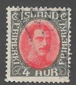 1931 Iceland Sc178 King Christian X 4aur used