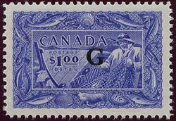 Canada - #O27 Mint $1 Fishing Ovpt. G  VF-NH Only 40,000 Issued USC Cat.$150.