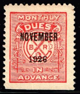US STAMP REVENUE Brotherhood of Railway 1926 MONTHLY DUE STAMP  MH/OG RED