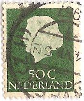 Netherlands 354 (used) 50c Queen Juliana