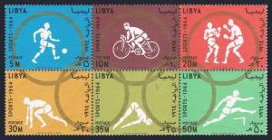 Libya 258-263a,263b perf.imperf,MNH. Olympics Tokyo-64.Soccer,Bicycling,Boxing,