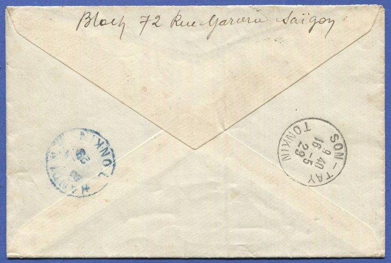 INDO-CHINA France 1929 Reg. Airmail Flight cover, SAIGON to SON-TAY, TONKIN