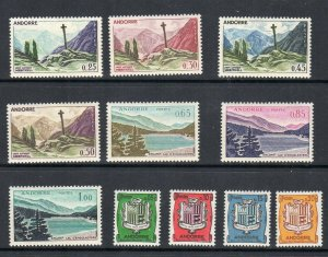 French Andorra 1961 Scott # 143-153  Mint Never Hinged CV $66.95
