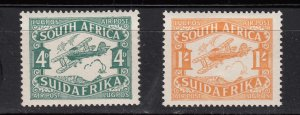 J28434, 1929 south africa set mlh #c5-6 airmails biplanes