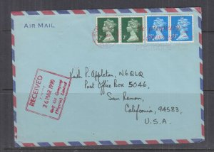 GREAT BRITAIN,1990 Airmail cover,Machin 2p.(2) 15p.(2) to USA,Courier to Nigeria