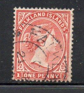 Falkland Islands Sc 12 1902 1 d orange red Victoria stamp used