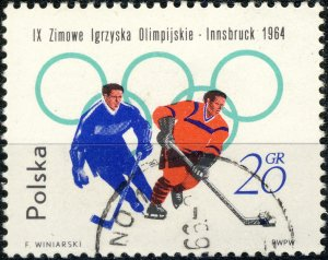 POLAND / POLEN - 1964 Mi.1457A 20gr Winter Olympics (Hockey) - VF Used (a)