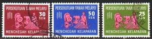 Malaysia. 1963. 32-34. Malaya, fighting hunger. USED.