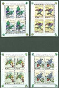 CONGO 2013 PERROQUETS SET OF FOUR MINI SHEETS CONTAINING FOUR STAMPS EA  MINT NH