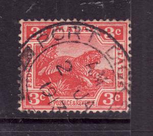 Federated Malay States-Sc#42-used 3c carmine-Tiger-1909-
