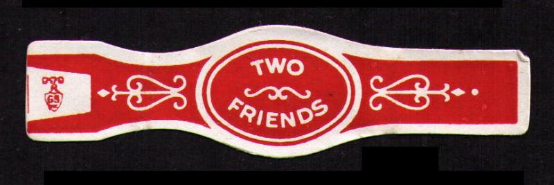 TWO FRIENDS, OLD CIGAR BAND UNUSED, TOBACCO CINDERELLA SEE SCAN