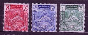 J23702 JLstamps 1949 burma hv,s of set #119-21 upu