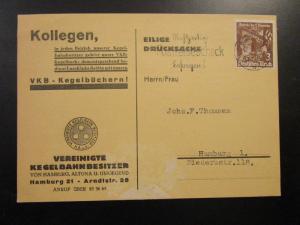 Germany SC# 467 on 1935 Commercial Postcard to Hamburg - Z6728