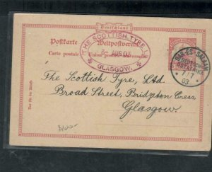 GERMAN EAST AFRICA COVER (P2908B) 1903 2 PESA 1908 PSC TO GLASGOW LONG MSG