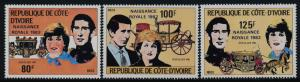 Ivory Coast 642-5 MNH Prince Charles, Princess Diana, Royal Baby o/p