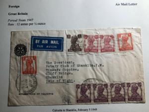1949 Calcutta India Rotary Club Airmail Cover To Shanklin Isle Of Wight