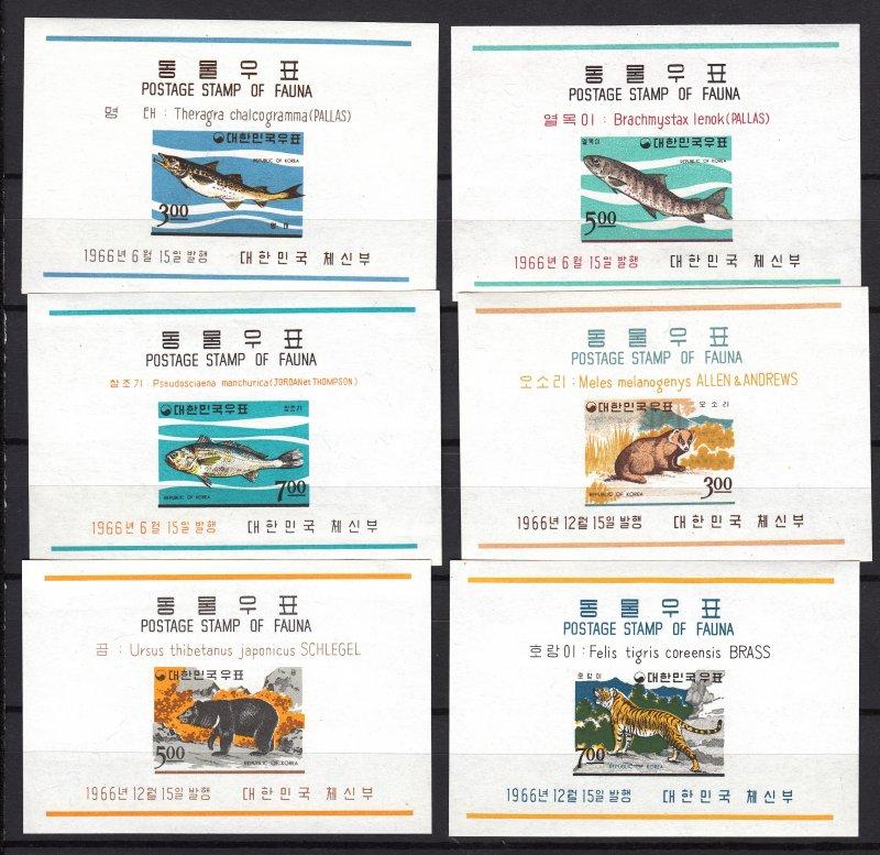 J26841 1966 south korea s/s mlh #496a-8a,502a-4a sports/animals