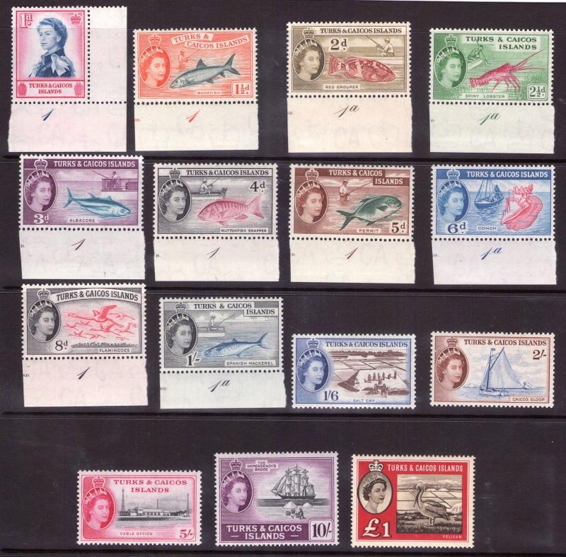 Turks and Caicos Islands QEII 1957/60 Definitive, multi-coloured,multiple  MNH