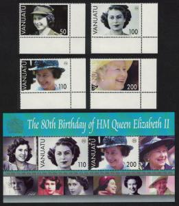 Vanuatu 80th Birthday of HM Queen Elizabeth II 4v+MS Corners SG#962-MS966