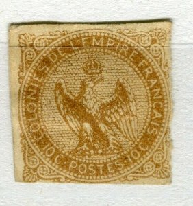 FRENCH COLONIES; 1859 early classic Imperf Eagle issue Mint unused 10c. value